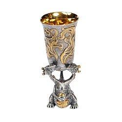 Серебряная рюмка Двуглавый дракон с позолотой