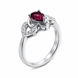 Серебряное кольцо с рубином и фианитами 000133480