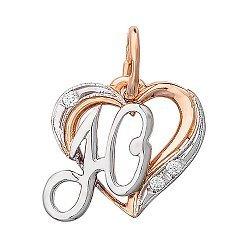 Золотой кулон-сердце Буква Ю в комбинированном цвете с фианитами 000013769