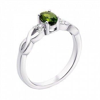 Серебряное кольцо с хризолитом и фианитами 000135966