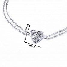 Серебряный двойной браслет Сердце малое мозаика с белым перламутром, 10x11мм