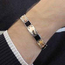 Серебряный браслет Подкова с золотыми вставками и ониксом, 8мм