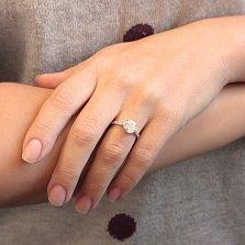 Серебряное кольцо Инга с узорной шинкой и фианитами