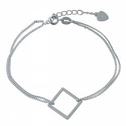 Многослойный серебряный браслет Квадрат в стиле минимализм