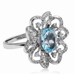 Серебряное кольцо с фианитами и флюоритами (3К846-0064)
