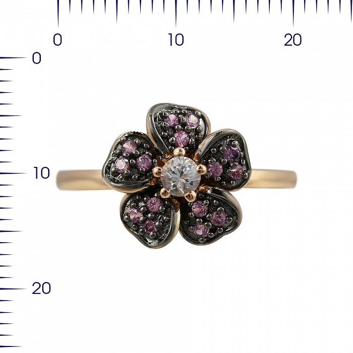 Кольцо из красного золота Анемона с лейкосапфиром и розовыми сапфирами 000080877