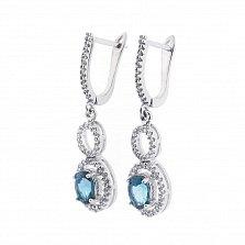 Серебряные серьги-подвески Делия с топазом лондон и фианитами