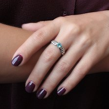 Серебряное кольцо Лила с голубым кварцем, цирконием и сердечками на шинке