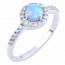 Серебряное кольцо Аврелия с голубым опалом и фианитами