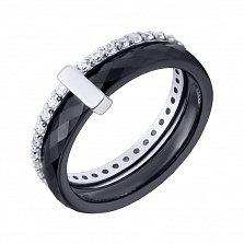 Серебряное кольцо Карди с черной керамикой и фианитами