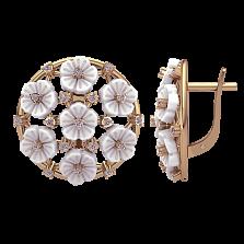 Золотые серьги Северной цветок с бриллиантами и перламутром