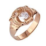 Золотое кольцо с фианитами Тигр