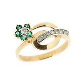 Золотое кольцо в белом цвете с изумрудами и бриллиантами Сильва
