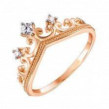 Кольцо-корона из красного золота с фианитами и родировнием 000133677
