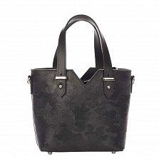 Миниатюрная кожаная сумка Genuine Leather 8671 черного цвета с тиснением, на кулиске