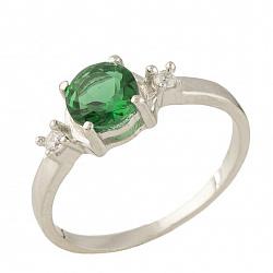 Серебряное кольцо Дейла с синтезированным изумрудом и фианитами