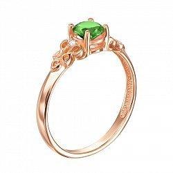 Кольцо из красного золота с зеленым агатом и фианитами 000131856
