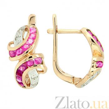 Золотые серьги с бриллиантами и рубинами Арника ZMX--ER-6118_K
