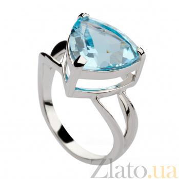 Кольцо из белого золота с голубым топазом Шерон 000029888
