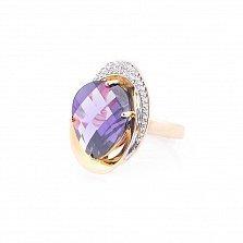 Золотое кольцо Жоржетта с фиолетовым и белыми фианитами