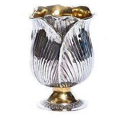 Серебряный бокал Тюльпан с позолотой