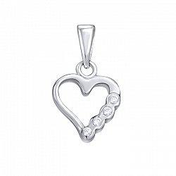 Серебряная подвеска Сердце с завальцованными фианитами на одном боку