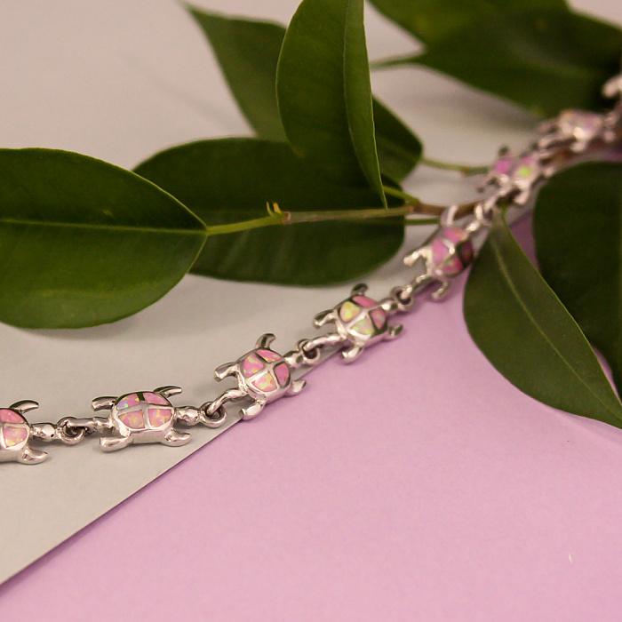 Серебряный браслет Черепашки с розовыми опалами