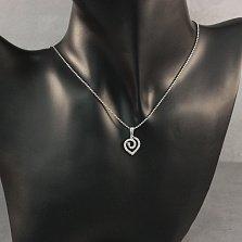 Серебряная подвеска Сердце-завиток с белыми фианитами