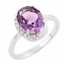 Серебряное кольцо Лукреция с аметистом и фианитами