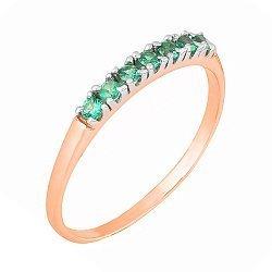 Позолоченное серебряное кольцо с зелеными фианитами 000028428