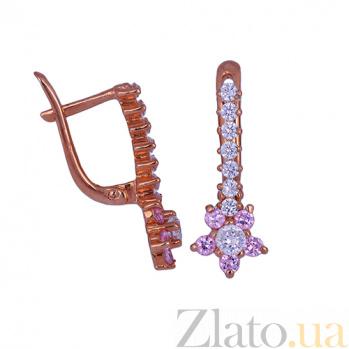 Детские золотые серьги с фианитами Падающие звезды ONX--с01257