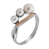 Серебряное кольцо с жемчугом и золотой вставкой Сакура