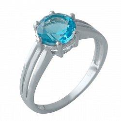 Серебряное кольцо с синтезированным аквамарином и родированием 000128754
