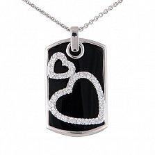 Кулон из белого золота Романтический вечер с черным агатом и бриллиантами