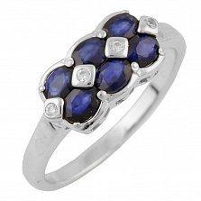 Серебряное кольцо Рафаэла с сапфирами и фианитами
