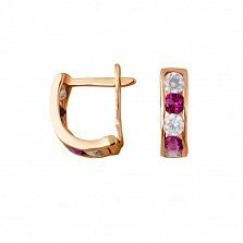 Золотые серьги Дормео с розовыми и белыми фианитами