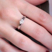 Помолвочное серебряное кольцо Пируэт с фианитом