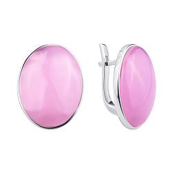 Серебряные серьги Звездная ночь с розовым кварцем