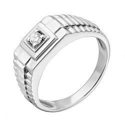 Серебряный перстень с бриллиантом 000022213