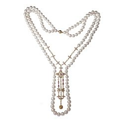 Жемчужное колье с бриллиантами и розовыми сапфирами Флориэна