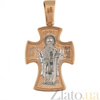 Крест из красного золота с белым родированием Святой Николай VLT--КС1-3043-2