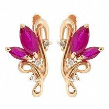 Золотые серьги с бриллиантами и рубинами Клара