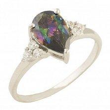 Серебряное кольцо Анжелина с топазом мистик и фианитами
