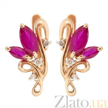 Золотые серьги с бриллиантами и рубинами Клара ZMX--ER-5002_K