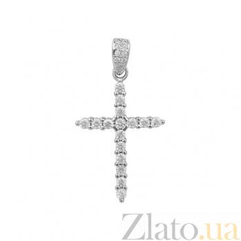 Серебряный крестик Иней с фианитами 000081763