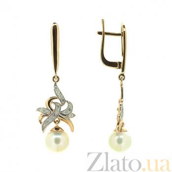 Золотые серьги с бриллиантами и жемчугом Услада ZMX--EDP-6775_K