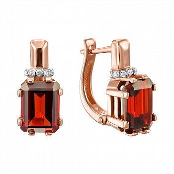 Серьги из красного золота с гранатом и фианитами 000123324