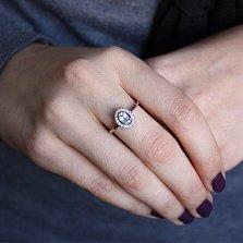 Серебряное кольцо Лия с голубым топазом и фианитами