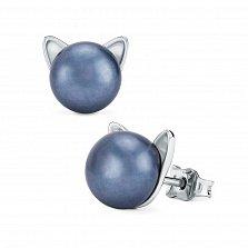 Серебряные серьги-пуссеты Загадочные котики с черным жемчугом