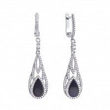 Серебряные серьги-подвески Сеньора с черным ониксом и фианитами